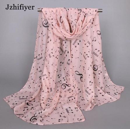 Женский розовый шарф с нотами - размер шарфа 144*50см, шифон