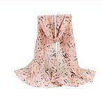 Женский розовый шарф с нотами - размер шарфа 144*50см, шифон, фото 2