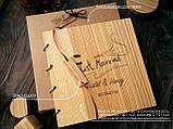 """Свадебная книга поздравлений и пожеланий 22х22 см с деревянной обложкой """"Флажок"""", фото 4"""