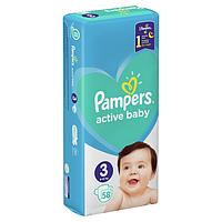Подгузники PAMPERS Active Baby Dry 3 Midi (6-10кг) 58шт.