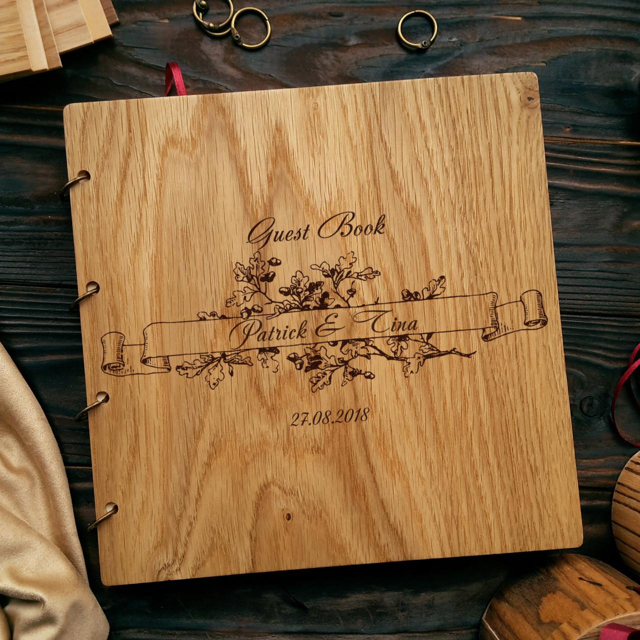 """Свадебная книга поздравлений и пожеланий 22х22 см с деревянной обложкой """"Дубовая Ветвь"""""""