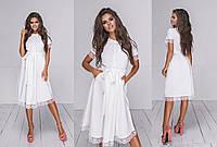 Женское платье из софта декорировано кружевом (4 цвета) - Белый ТК/-23073, фото 1