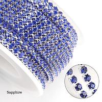 Стразовая цепь Плотная. SS12 Sapphire - Серебро. Цена за 0,5м