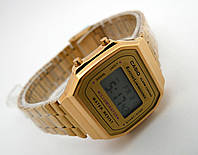 Полностью металлические часы в стиле CASIO A168 gold, фото 1