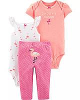 Комплект 3-Piece  Flamingo Little Character для девочки 3 в 1: боди с коротким рукавом, и штанишки (3 мес)