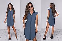 Женскоелетнее джинсовое платье (3 цвета) - СинийТК/-16027