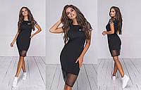 Женское комбинированное летнее платье (5 цветов) - Черный ТК/-24035, фото 1