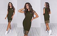 Женское комбинированное летнее платье (5 цветов) - Хаки ТК/-24035, фото 1