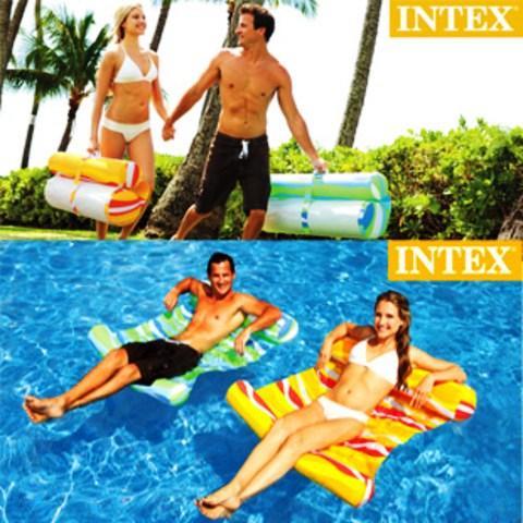 Пляжный надувной матрас гамак для плавания Intex 58834, 137х99 см Два цвета