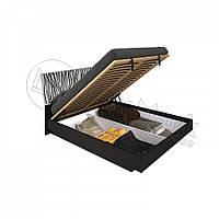 Двоспальне ліжко 160х200 з підйомним механізмом у спальню Терра Білий Глянець - Чорний Мат Міромарк