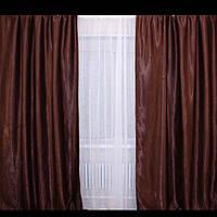 Готовые однотонные шторы Блекаут Katrin горький шоколад