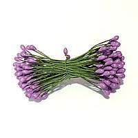 Тычинки глянцевые на проволоке 100 штук(200 головок). Цвет сиреневый