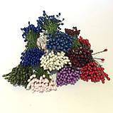 Тычинки глянцевые на проволоке 80 штук(160 головок). Цвет белый, фото 2