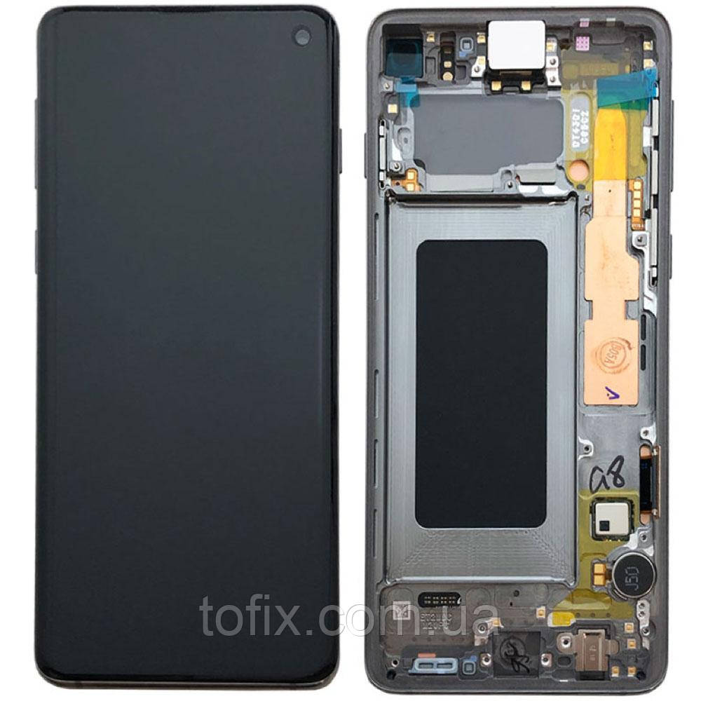 Дисплейный модуль (дисплей + сенсор) для Samsung Galaxy S10 G973, с рамкой, черный, оригинал #GH82-18850A