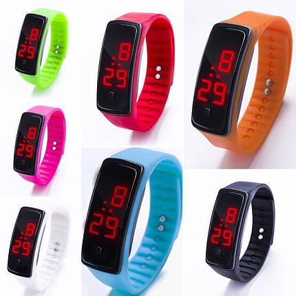 Спортивные силиконовые часы-браслет LED темно-розовые SW2-10, фото 2