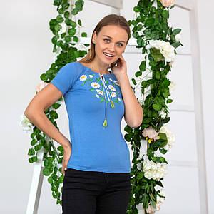 Женская голубая футболка вышиванка Ромашки