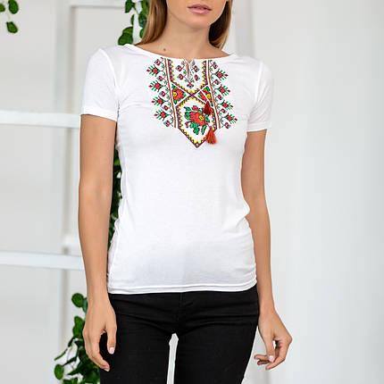 Жіноча футболка вишиванка Орнамент квітка, фото 2