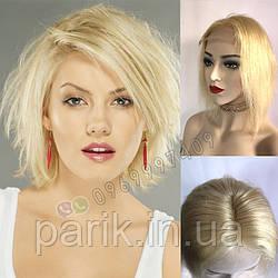 Парик блонд короткий из натуральных волос, каре на сетке