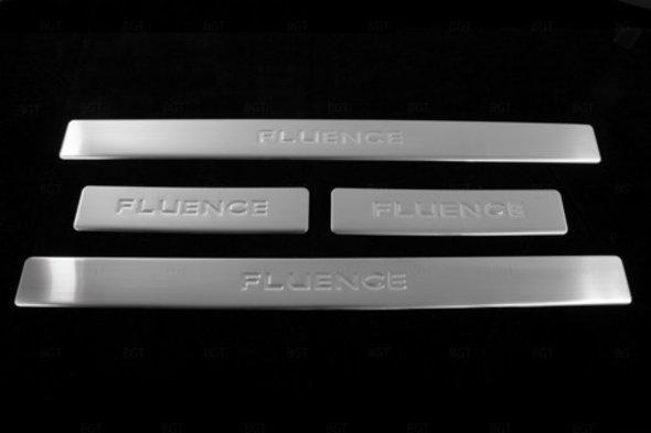 Накладки на пороги OmsaLine (4 шт, нерж.) Renault Fluence 2009↗ гг.