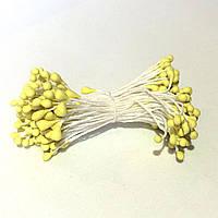 Тычинки матовые на нитке 100 штук(200 головок). Цвет светло-желтый