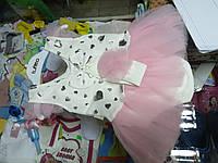 Костюм ясельный для девочки Боди платье с повязкой р.62 - 80