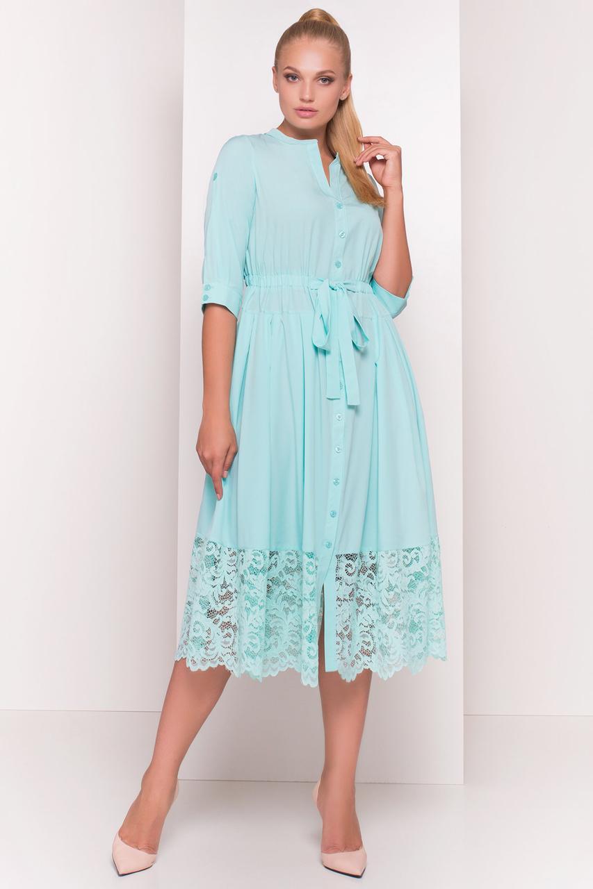 Приталенное батальное платье Лана с юбкой полусолнце на лето