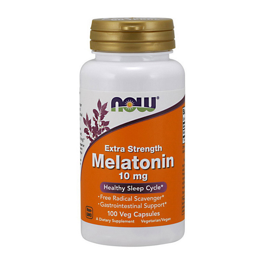 Мелатонин NOW Melatonin 10 mg Extra Strength (100 veg caps)