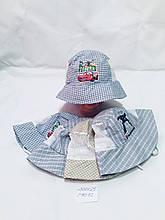 Детская летняя панамка с сеткой  в клетку для мальчика Тачки р.50-52