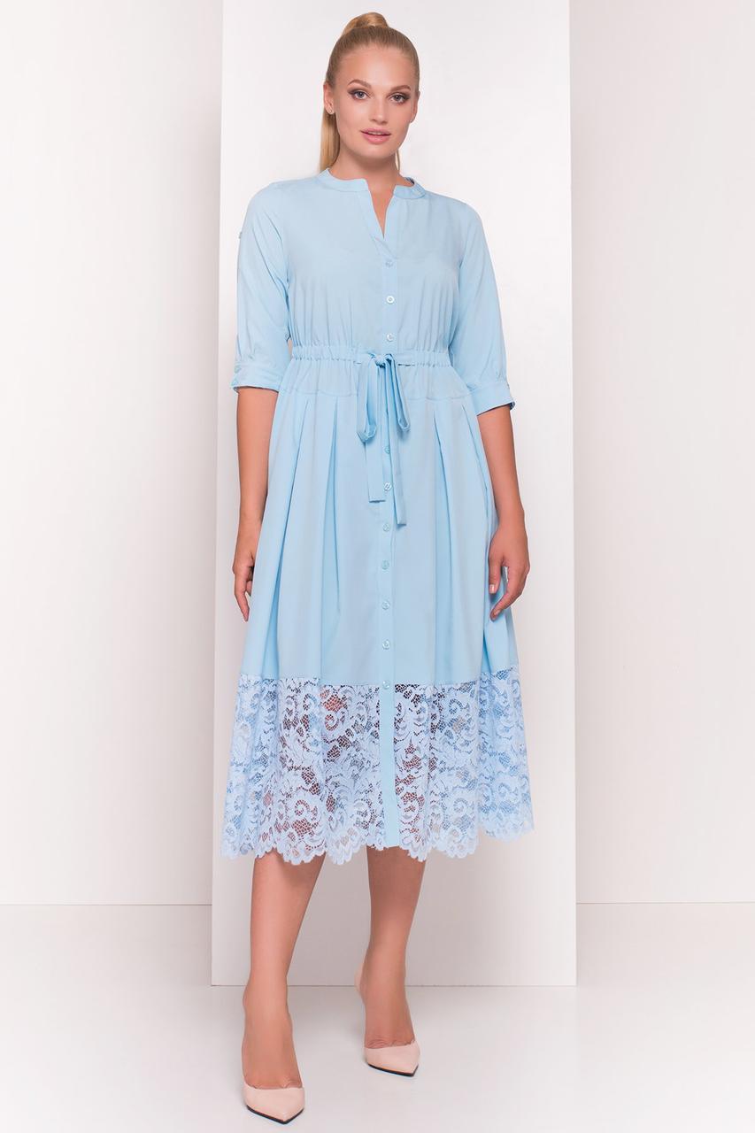 Приталенное батальное платье Лана-1 с юбкой полусолнце на лето