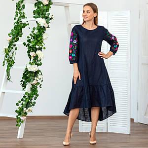 Жіноча лляна сукня вишиванка  синя Брітні