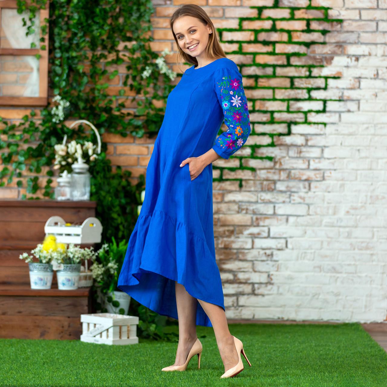 Жіноча лляна сукня вишиванка  блакитна Брітні