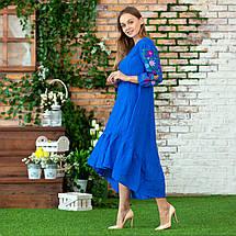 Жіноча лляна сукня вишиванка  блакитна Брітні, фото 3