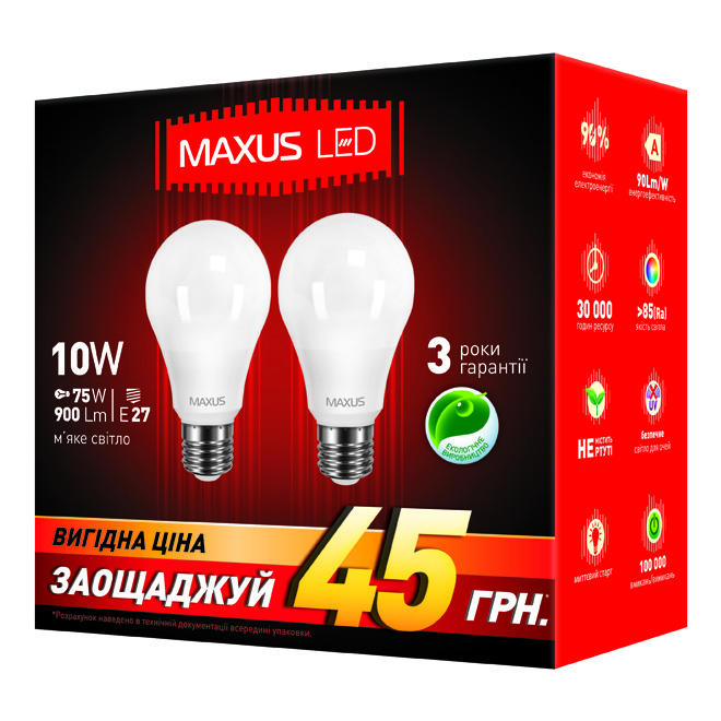 Лампа MAXUS A60 10W 3000K 220V E27 AP (2 шт.)