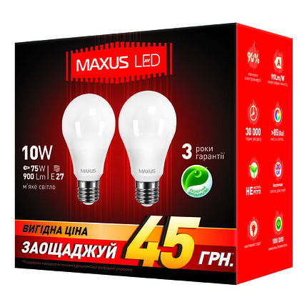 Лампа MAXUS A60 10W 3000K 220V E27 AP (2 шт.), фото 2