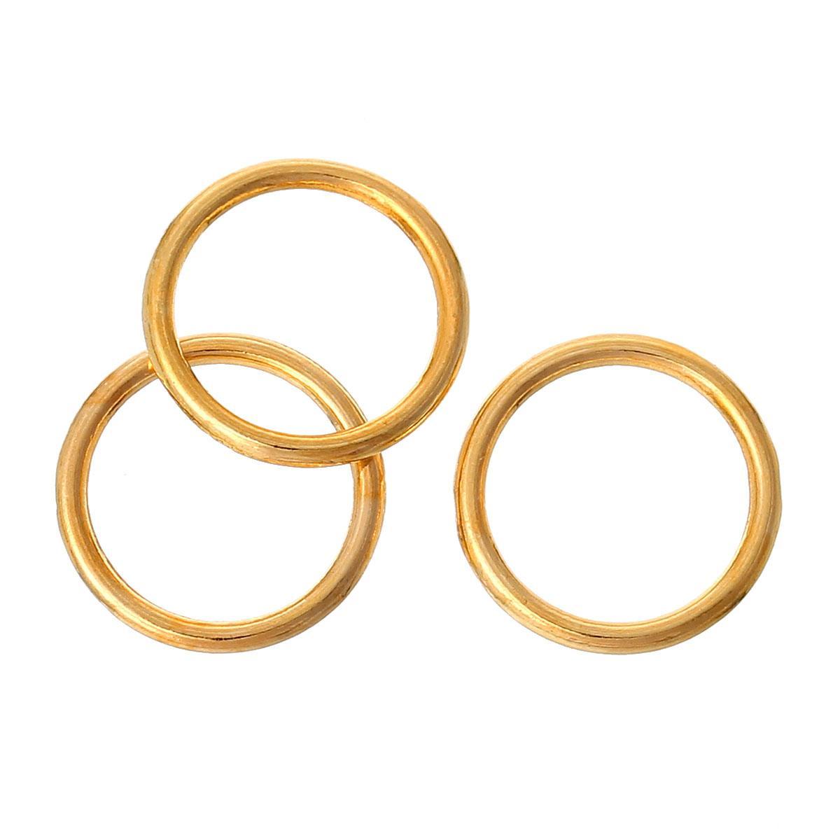 Кольцо закрытое круглое 15мм золото для рукоделия