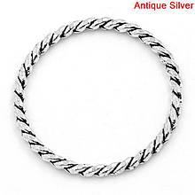 Кольцо закрытое круглое 26 мм жгут античное серебро для рукоделия