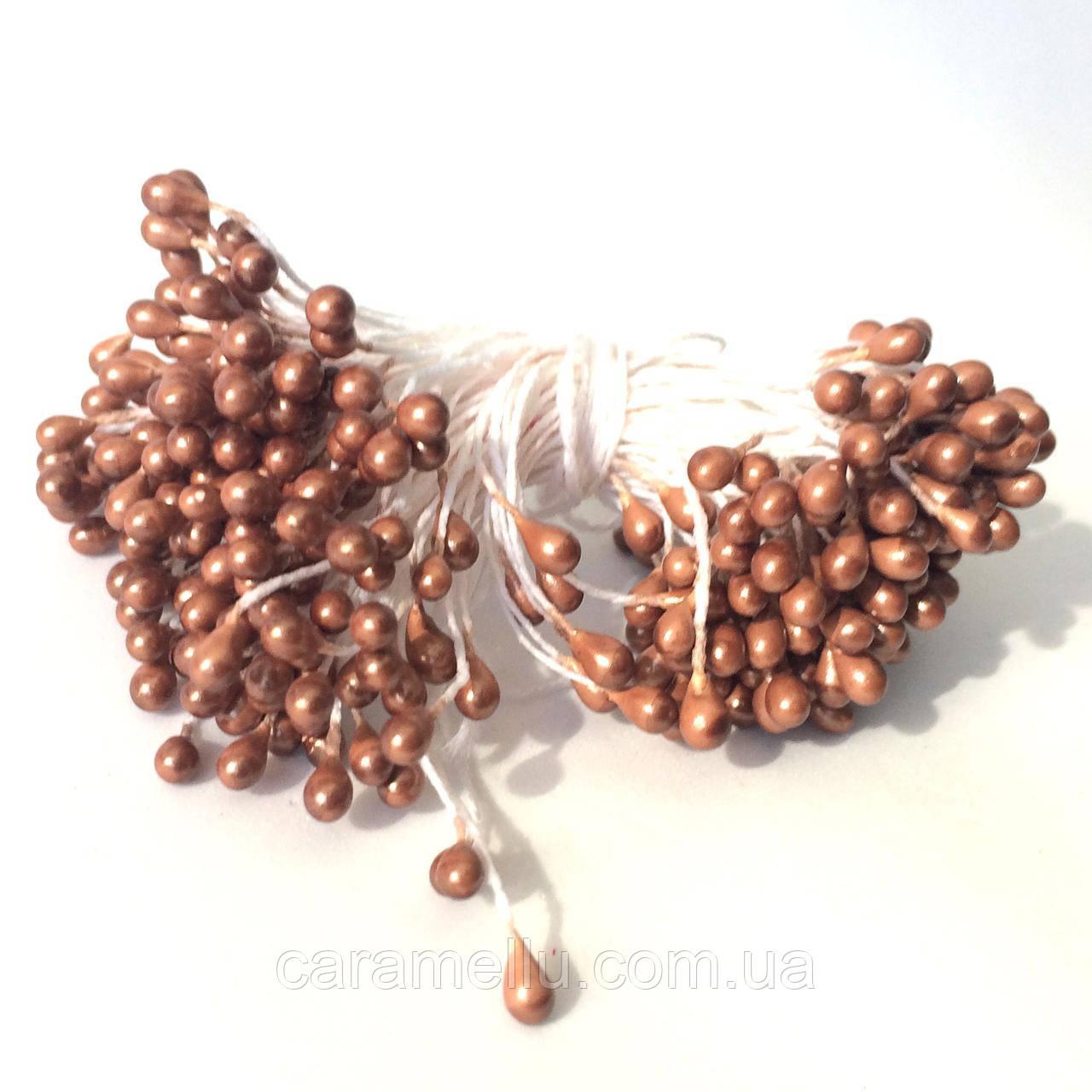 Тычинки глянцевые на нитке 100 штук(200 головок). Цвет коричневый