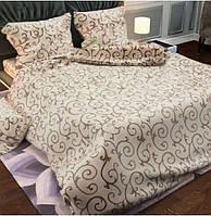 Двуспальный набор постельного белья «Кофейные вензеля на бежевом фоне»