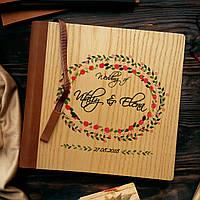 """Деревянная свадебная книга для пожеланий 22х22 см с кожаным корешком """"Венок розочки"""", фото 1"""
