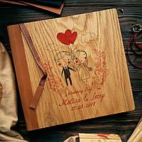 """Деревянная свадебная книга для пожеланий 22х22 см с кожаным корешком """"Двое"""", фото 1"""
