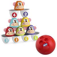 Боулинг детский Страйк обезьян цветные кегли Chicco 05228, фото 1
