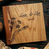 """Деревянная свадебная книга для пожеланий 22х22 см с кожаным корешком """"Цветение липы"""", фото 1"""