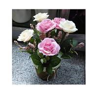 Декор T15-12 (75шт) цветы, розы,20см, в горшке, 3цвета, в кор-ке, 10,5-22-10,5см