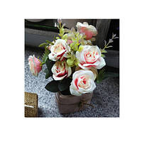 Декор T15-17 (75шт) цветы, розы, 20см, в горшке, 3 цвета, в кор-ке, 10,5-22-10,5см