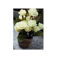 Декор T15-19 (75шт) цветы, розы,20см, в горшке, 3 цвета, в кор-ке, 10,5-22-10,5см