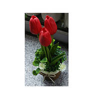 Декор T15-21 (75шт) цветы, тюльпаны, 17см, в горшке, 3 цвета, в кор-ке, 10,5-22-10,5см