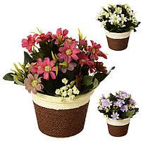Декор T15-22 (48шт) цветы, 23см, в горшке, 3 цвета, в кор-ке, 16,5-23-16,5см