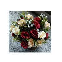Декор T15-23 (48шт) цветы, 23см, в горшке, 3 цвета, в кор-ке, 16,5-23-16,5см