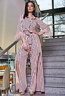 Нарядный брючный костюм в полоску с перьями 3372 (42–48р) в расцветках