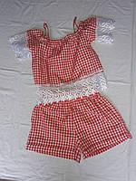 Подростковый костюм с шортами для девочки от 9 до 13 лет в клеточку,красного цвета